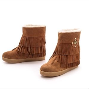 Tory Burch collins fringe brown suede boot…